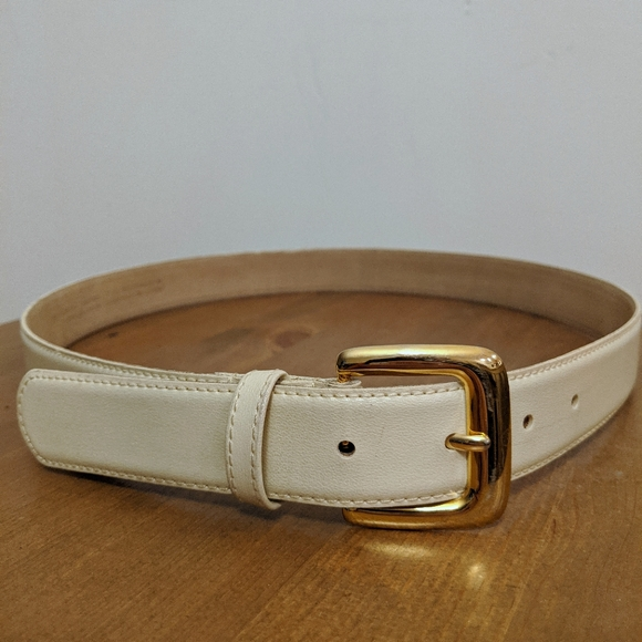 Cream Genuine Leather Belt